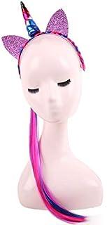 Children Unicorn color wig braids headband