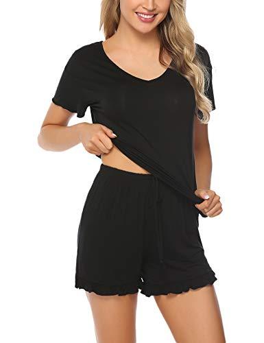 Aibrou Schlafanzug Damen Kurz Baumwolle Pyjama Kurzarm Nachtwäsche Set Shirt & Shorts Sleepwear mit Ruffle Sleeve Sommer Schwarz XL
