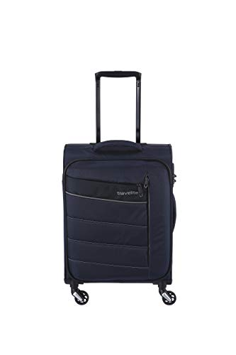 travelite 4-Rad Weichgepäck Handgepäck Koffer mit TSA Schloss erfüllt IATA-Bordgepäck Maß, Gepäck Serie KITE: Extrem leichter Trolley im sportlichen Design, 089947-20, 54 cm, 36 Liter, marine (blau)