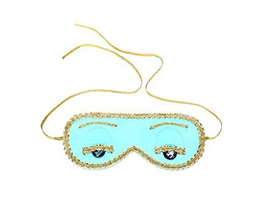 Utopiat Seide Schlafaugenmaske türkisblau Frauen inspiriert von Audrey Hepburn Stil (mit Geschenkbox)