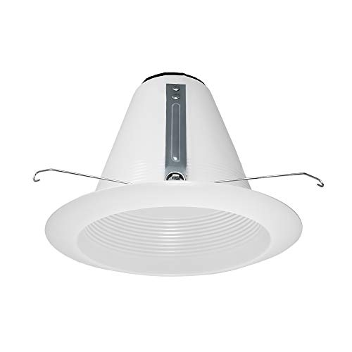 PROCURU 6-Inch Recessed Can Light Trim, Weatherproof and IC-Rated, Air-Tight Steel Construction, White (AF641WW-1P)