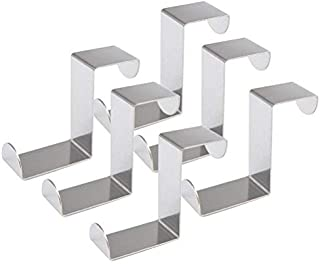 FOCCTS 6 stuks deurhaken 45 mm roestvrij staal omkeerbare haken kast en lade haken, kasthaken zonder boren, deurhaken, kle...