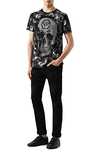 Philipp Plein - Camiseta de manga corta, diseño de calavera, color negro Negro Negro ( Small