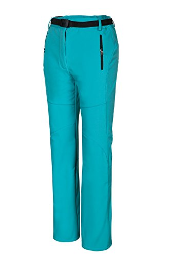 Spvoltereta Outdoor Thick Warm Women Straight Leg Pants Quick Dry Waterproof & Windproof with Fleece Liner for Hiking Trekking Snowmobiling Skiing (6, PEACOCK BLUE)
