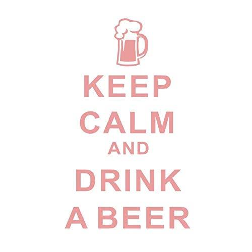 Etiqueta De La Pared Mantenga La Calma Y Beba Una Cerveza Etiqueta De La Pared Del Personaje De La Cocina Decoración Del Hogar Mural Impermeable Negro 26Cm X 44Cm