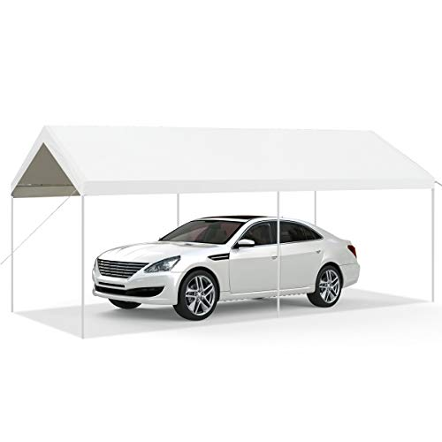 Tangkula 10 x 20 Feet Carport, Waterproof Car Canopy with 6 Steel Legs, Ball Bungees & Wind Rope, Outdoor Car Shelter for Car Parking, Heavy Duty Portable Garage Car Tent (White)