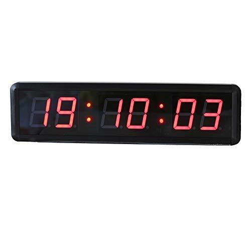 Countdown-Uhr Fitnesstraining Timer Countdown / Up-Timer Mit Fernbedienung 1,8-Zoll-LED Digital Sport Timing Clock einfach und elegant zu Hause oder im Handel ( Farbe : Schwarz , Größe : 34X9X3.5CM )
