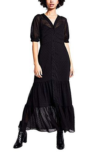 River Island vestido maxi para mujer, con textura de lunares, color negro