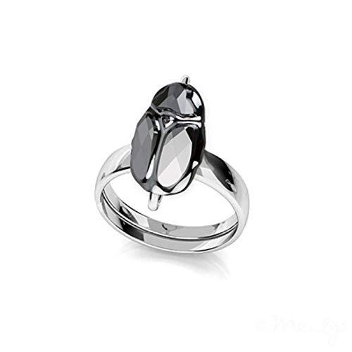 Line.bijoux Ring, Skarabäus, Swarovski-Kristalle, silberfarben, größenverstellbar, massives Sterling-Silber 925, Echtheitszertifikat