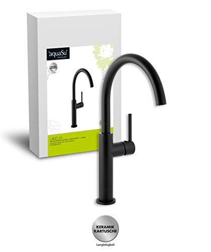 'aquaSu® Schwenkbare Waschtischarmatur Lago 2.0 in schwarz mit Pop-Up Ventil, hoch mit 20 cm Ausladung, Einhebelmischer mit seitlichem Hebel, aus Messing mit Keramikkartusche, 78381 1