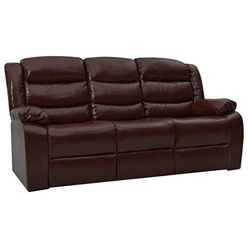 Tidyard Sofá reclinable Sofás de salón de 3 plazas Cuero sintético marrón