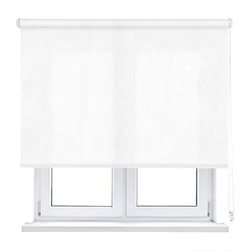 Unishop Estor Enrollable Translúcido Liso, Fácil Instalación, Estor para Ventanas y Puertas (Blanco, 90x180cm)