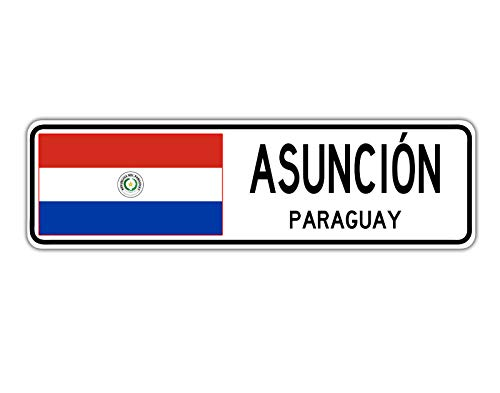 TNND New Asunci ̈®n Paraguay Straßenschild Paraguaya-Flagge Stadt Land Straßenschild Straßenschild 10 x 16 Zoll