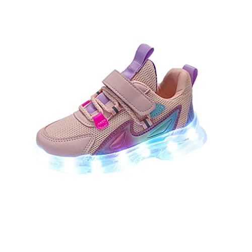 NAJING Zapatos Luminosos De Malla para Niños Versión Coreana Transpirable Informal De La Primavera Y El Verano Zapatos Antideslizantes para Niñas Zapatos Iluminados Ghost Step