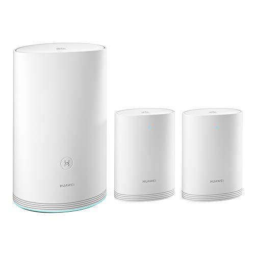 HUAWEI Wi-Fi Q2 Pro (1 Basis + 2 Satelliten), Powerline WLAN Mesh Set (1200Mbits+1000Mbits, inkl. Plug&Play, Kindersicherung, Reichweite bis zu 450m², 5xGigabit) weiß