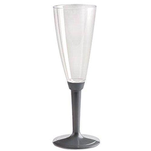 100 copas de flauta base plata champán vasos Proscco transparentes Happy Hour aperitivo desechables