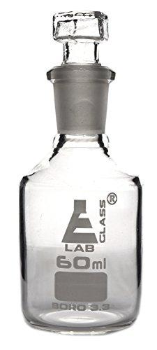 Eisco Labs Reagenzflasche, Borosilikatglas, schmal, mit auswechselbarem sechseckigen Hohlglasverschluss – 60 ml