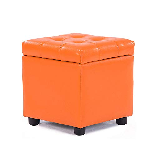 FLYFASH Multi-function Stool, Storage Stool Storage Stool Bed End Stool Home Solid Wood Sofa Change Shoe Stool Finishing Box Box Stool (Color : Orange, Size : L)