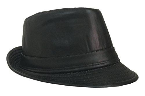 Bigood Chapeau Homme Cuir Faux Fedora Trilby Jazz Chapeaux Panama Bonnet Noir Classique