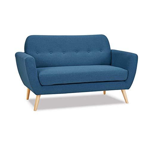 Divano 2 Posti Blu Melange Stile Moderno di Design Contemporaneo con Bottoni per Salotto Casa Hotel, Stile Moderno, Cm 147 X 79 X 86 H