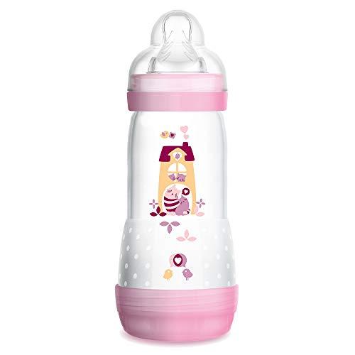 MAM Easy Start Anti-Colic Babyflasche (320 ml) – Babyflasche mit Bodenventil gegen Koliken – Baby Trinkflasche mit Sauger Größe 2, 4+ Monate, Seepferdchen, rosa