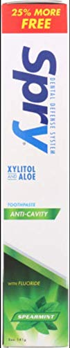 Spry Xylitol Toothpaste with Fluoride, Natural Spearmint, Anti-Cavity, 5 oz (3 Pack)
