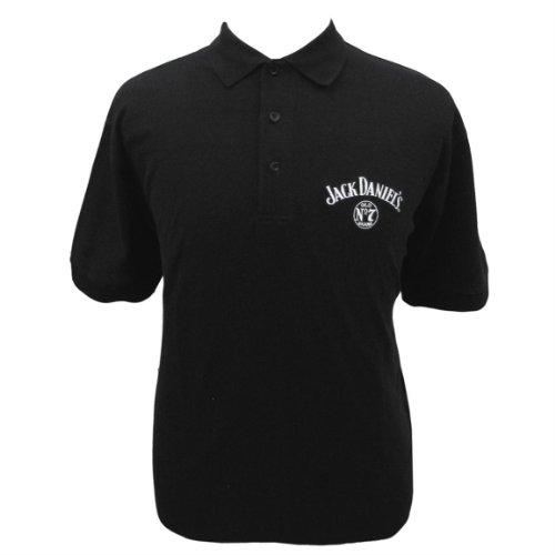 Jack Daniels Embroidered Golf Shirt Polo-Medium Black