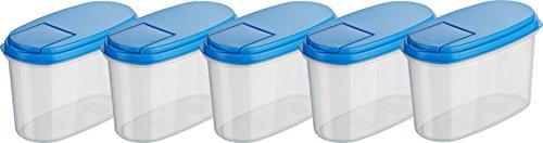 Kigima Schüttdosen Streudosen Vorratsdosen 1l 5er Set blau