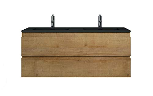 Badezimmer Badmöbel Set Angela 120 cm - Schwarzes Waschbecken - Eiche - Unterschrank Schrank Waschbecken Waschtisch