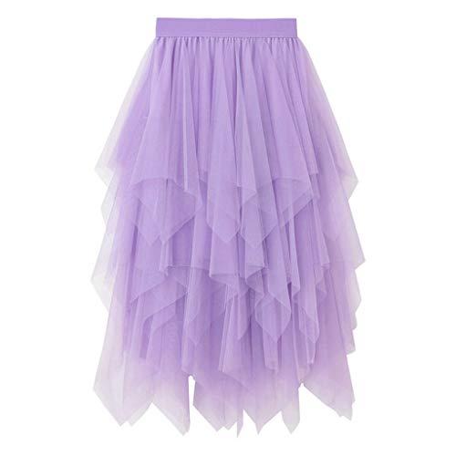 Julhold - Falda de Tul para Mujer (Cintura elstica, Longitud Media) A Violeta. Talla nica