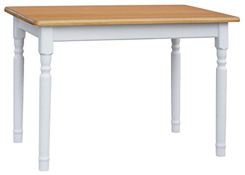 KOMA Esstisch 120x70cm Küchentisch Tisch Massiv Kiefer Holz Weiß Honig Landhausstil Neu (Alder)