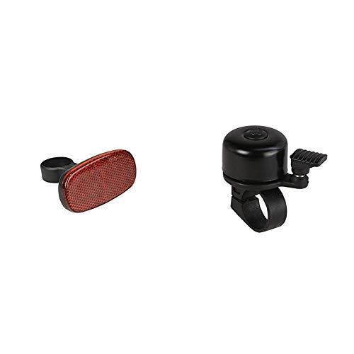 FISCHER Erwachsene Reflektor Heck Universalhalterung, rot, Universal & Mini Fahrradglocke, schwarz, One Size