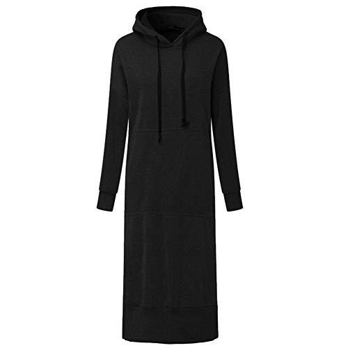 ERLIZHINIAN Jesień długa bluza sukienka 2019 zima kobiety swobodny z kapturem długi rękaw podzielony polar luźny podstawowy sweter na imprezę (kolor: Czarny, rozmiar: XXXL)