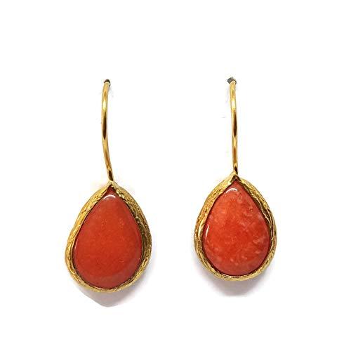 Mystic Jewels by Dalia - Pendientes Largos forma de gota con Piedra Natural (Naranja)