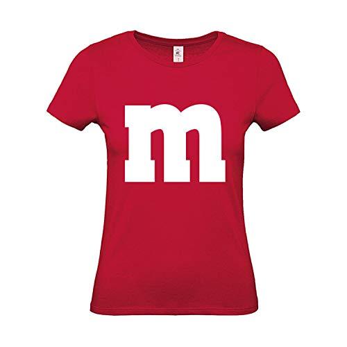 Shirt-Panda Damen T-Shirt · M&M · Gruppen Kostüm · Karneval Shirt · Fasching Verkleidung · Party Tshirt · JGA Frauen · Lady Fit · Mädchen Shirt · 100% Baumwolle · Rot M