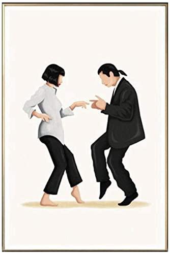 Pulp Fiction Dance Poster Kunstdruck Klassisches Filmplakat Abstrakt Minimalistische Wandkunst Leinwanddrucke Gemälde Wandbilder für Wohnzimmerdekoration Kein Rahmen