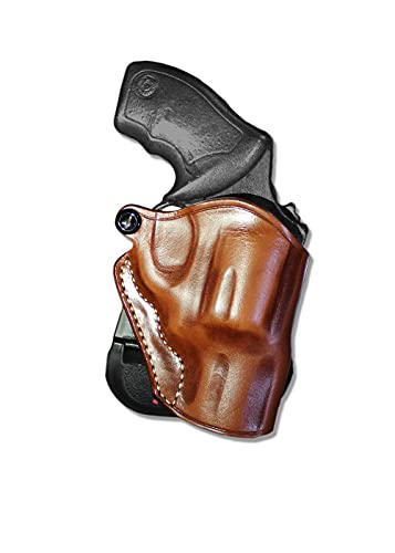 """Premium Leather OWB Paddle Holster with Open Top Fits,Taurus PT85 M85 38 Special Revolver 2"""" BBL, Right Hand Draw, Brown Color #1061#"""