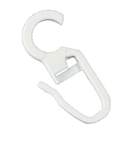 rewagi - Hochwertige Überklipshaken, Faltenlegehaken, Gardinenhaken mit 10 mm Öse - Farbe: weiß - 50, 100, 150, 200 Stück (100 Stück)