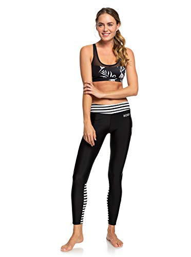 Roxy Damen Spy Game-7/8-Sport-Leggings 7/8-sport-leggings, True Black Beetle Stripes, XL