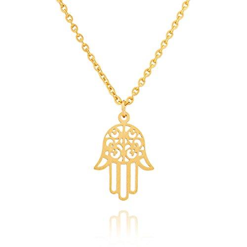 Collar Selia Diseño Mano de Fatima /Colgante Minimalista de Amuleto de la Suerte / Cadena de Acero Inoxidable / Look Amor