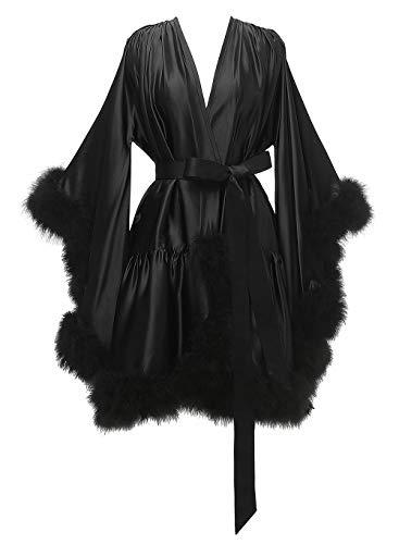 Yexinbridal Feather Fur Robe Silk Satin Bridal Dressing Gown Sexy Illusion Lingerie Nightgown Bathrobe Sleepwear Black S/M