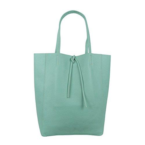 Damen Echtleder Shopper mit Innentasche in vielen Farben Schultertasche Henkeltasche Metallic look (Mint)