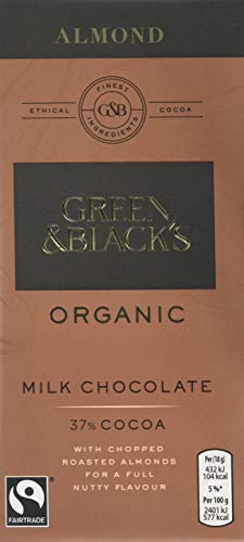 Green & Black's Organic Chopped Almond Milk Chocolate Bar, 100 g, Pack of 5
