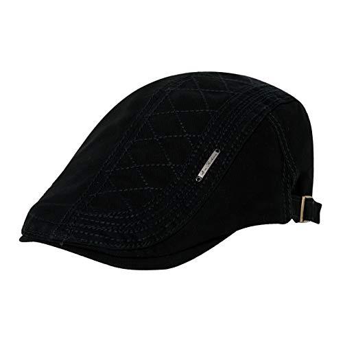 Comhats Gorra para hombre, de algodón, plana, para senderismo, camping, bicicleta, color negro