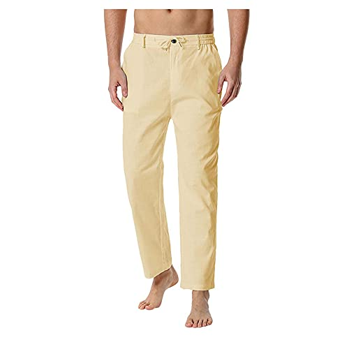 Pantalones de chándal para hombre, largos, sólidos, para el tiempo libre, elásticos, para senderismo, ajustados, tácticos, para correr, fitness, actividades al aire libre, caqui, L