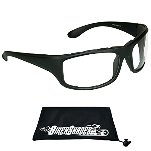 BIKERSHADES Transitional Motorcycle Glasses Safety Photochromic CLEAR to SMOKE Lens