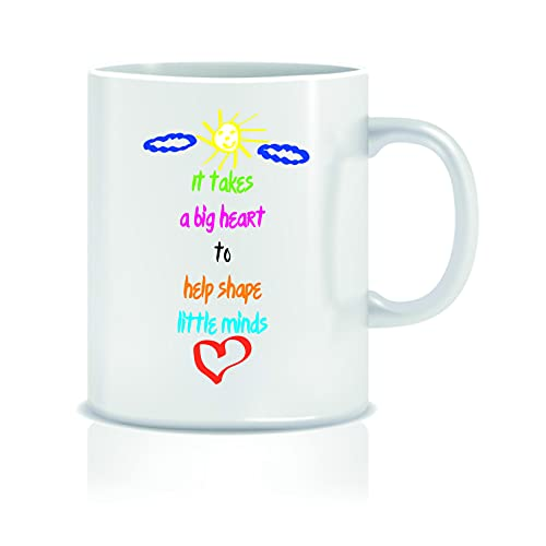 Taza con texto en inglés «It Takes a Big Heart to ShapeLittle Minds», taza de regalo de cumpleaños para él y su taza, chiste humor - KMUG29