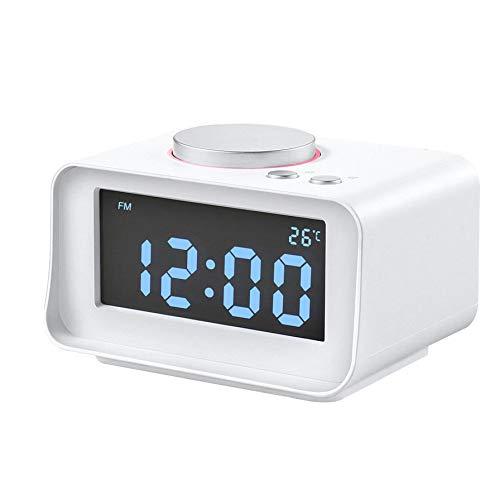 Led Bluetooth Speaker, FM Radio Alarm Clock Smart Multi-Function Digital Alarm Clock Dual USB AUX Function Connect to MP3 MP4 PDA,White