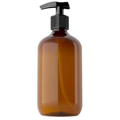 Luckiests 500 ml Pet Recargable Botella vacía Champú Bomba de la loción de Prensa de Maquillaje dispensador Recipiente de plástico, Brown