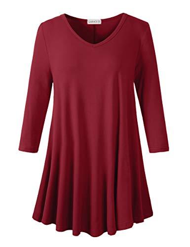LARACE 3/4 Sleeve Tops Plus Size Tunics V Neck Solid Shirts Flowy Women Clothing for Leggings(Wine Red 5X)